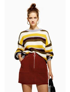 Corduroy Zip Up Skirt by Topshop