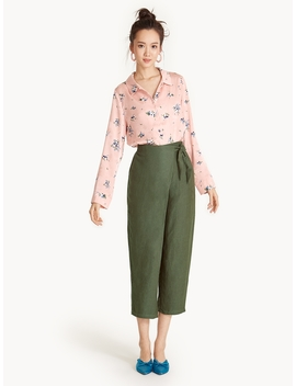 Cropped Waist Tie Pants by Pomelo