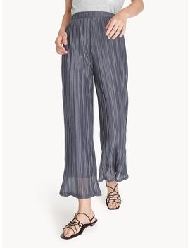 Pleated Wide Leg Flowy Pants   Gray by Pomelo