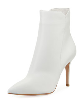 Levy Notched Leather 85mm Booties by Gianvito Rossi
