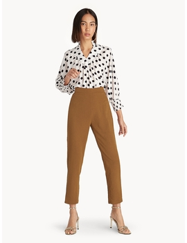 High Waisted Elastic Crop Pants   Brown by Pomelo