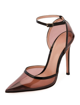 Blush Plexi Ankle Strap Pumps by Gianvito Rossi