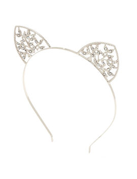Silver Ivy Cat Ears Headband by Claire's