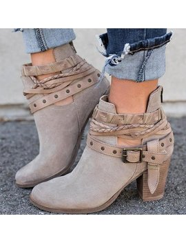 Buckle Strappy Block Heel Boots by Newchic