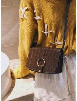 Patent Leather Hook Decoration Crossbody Bag   Coffee by Zaful