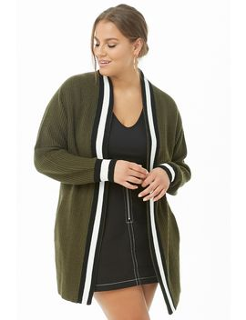 Plus Size Ribbed Open Front Varsity Cardigan by Forever 21