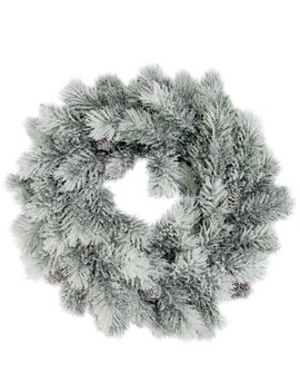 "12"" Flocked Green Pine Decorative Christmas Wreath With Pine Cones by Northlight"