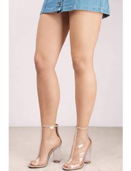 Mariko Nude Lucite Peep Toe Booties by Tobi