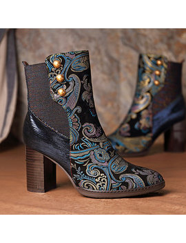 Socofy Super Comfy Vintage Genuine Embossed Leather Splicing Veins Block Heel Zipper Ankle Boots by Newchic
