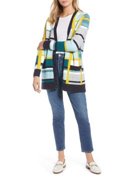 Abstract Plaid Button Front Cardigan Sweater by 1901