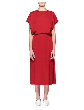 Cyde Dolman Sleeve Blouson Top A Line Silk Dress by The Row