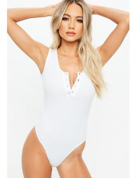 White Button Front Ribbed Bodysuit by Missguided