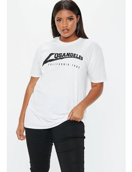 Plus Size White Los Angeles Oversized T Shirt by Missguided