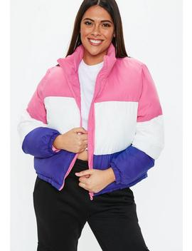 Plus Size Multi Colour Block Puffer Coat by Missguided