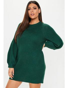 Plus Size Green Oversized Sweater Dress by Missguided