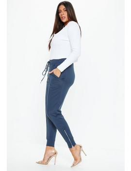 Plus Size Indigo Piping Detail Vintage Joggers by Missguided
