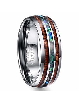 Vakki 8mm Hawaiian Koa Wood And Abalone Shell Tungsten Carbide Rings Wedding Bands For Men Comfort Fit Size 4 To 17 by Vakki