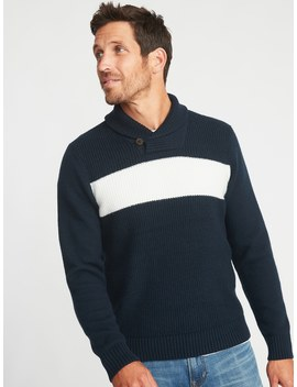 Shawl Collar Chest Stripe Sweater For Men by Old Navy