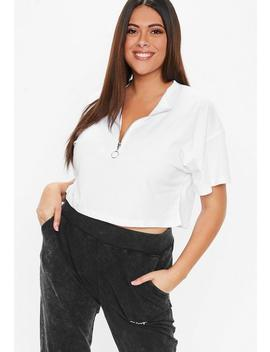 Plus Size White Ringpull Zip Detail T Shirt by Missguided