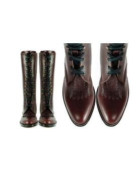 Kerouac Lineman Burgundy Pebbled Leather Added Heel Fringed Goodyear Welted Boots (All Sizes) by Etsy