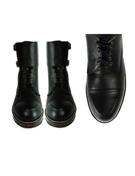 Byron Double Buckle  Black Leather Combat Boots. by Etsy