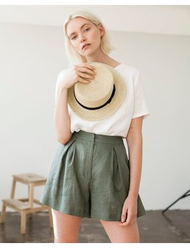 Linen Shorts, Linen Shorts For Woman, Laundered Linen Shorts, Linen Shorts Skirt, Green Moss Linen Shorts For Woman, High Waist Shorts by Etsy