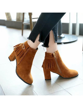 Suede Tassel Block Heel Ankle Boots by Newchic