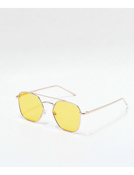 Oversized Yellow Sunglasses by Zumiez