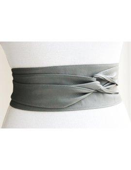 Grey Obi Belt | Leather Sash Belt | Cinch Belt | Grey Leather Corset Belt | Bridal Belt | Plus Size Accessory | Waist Belt | Gift For Her by Etsy