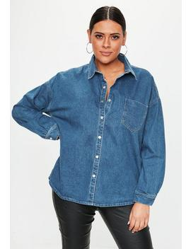 Plus Size Blue Oversized Denim Shirt by Missguided