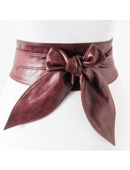 Maroon Burgundy Leather Obi Belt | Leather Tie Belt | Real Leather Belt| Ladies Belt | Plus Size Belts by Etsy