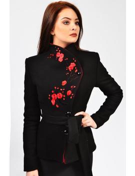 Luca Jacket (Black, White, Navy, Red), Black Coat, Winter Coat, Wrap Coat, Women's Coats by Etsy
