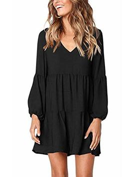 Hibluco Women's V Neck Long Sleeve Sheer Tunic Loose Ruffles Dress by Hibluco
