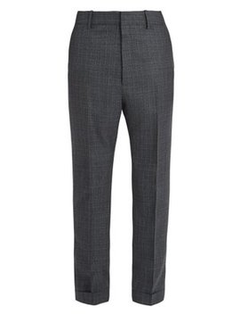 Tapered Leg Windowpane Check Wool Trousers by Bottega Veneta