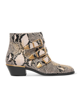 Susanna Studded Snake Effect Leather Ankle Boots by Chloé