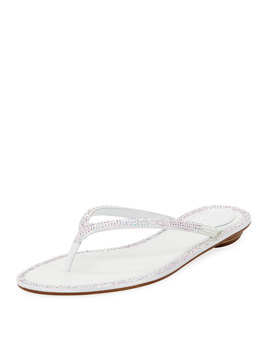 Flat Crystal Thong Sandals by Rene Caovilla