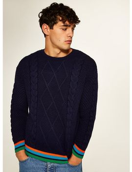 Navy Tipped Cable Knit Jumper by Topman