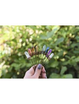 Chakra Crystal Hair Pins, Raw Rainbow Quartz Hair Pin, Bridal Accessories, Wedding Hair Accessories by Etsy