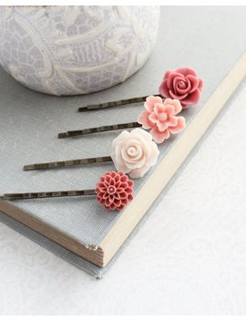 Rose Bobby Pins Flowers For Hair Floral Hair Accessories Light Peach Dusty Rose Pink Girls Hair Clips Vintage Style Gift For Her Under 25 by Etsy