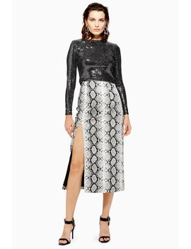 Snake Print Leather Look Pencil Skirt by Topshop