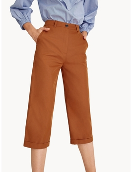 Cropped Culotte Tailored Pants   Orange by Pomelo