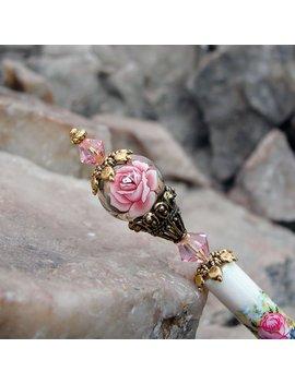 Pink Rose Floral Japanese Tensha Hair Stick Swarovski Flower Geisha Hair Sticks Kanzashi Hair Pins Hair Chopsticks Genevieve 2986 by Etsy