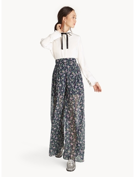 high-waist-sheer-pleated-floral-pants by pomelo