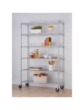 77 In. X 48 In. X 18 In. 6 Tier Wire Shelving Rack With Wheels In Chrome by Trinity