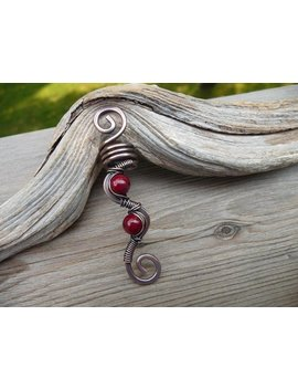 Dread Loc Bead, Copper Hair Bead, Dreadlock Beads 8mm, Hair Jewelry For Braids, Wire Wrapped Jewelry, Viking Hair Beads, Loc Cuff, Red Dread by Etsy