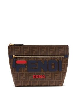 Mania Logo Appliqué Pouch by Fendi