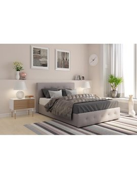 Dhp Rose Upholstered Bed With Storage , Gray Linen, Multiple Sizes by Dhp