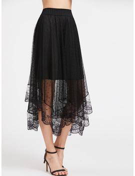 Sheer Dobby Mesh Overlay Skirt by Romwe