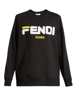 Flocked Logo Cotton Sweatshirt by Fendi