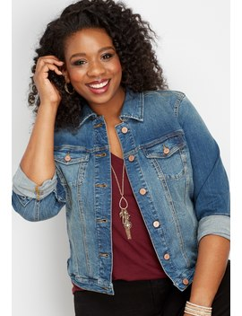 Plus Size Dark Sandblasted Denim Jacket by Maurices